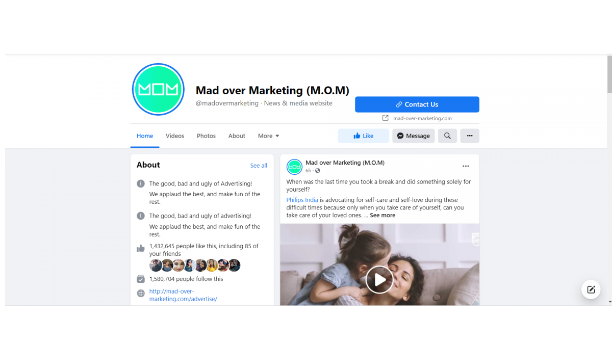 Facebook page crazy about marketing