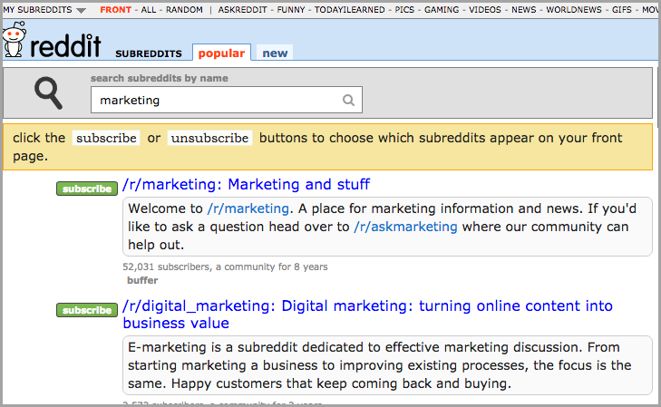 This Shows How to Search Required SubReddits or Related SubReddits